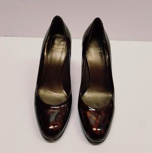 Stuart weitzman patent leather leopard heels